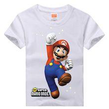 Retail Brand 2015 New Baby&Kids Girls T-shirt Child Clothing Summer Clothes Short Sleeve Tees Shirts Boys Cartoon Mario Tops(China (Mainland))