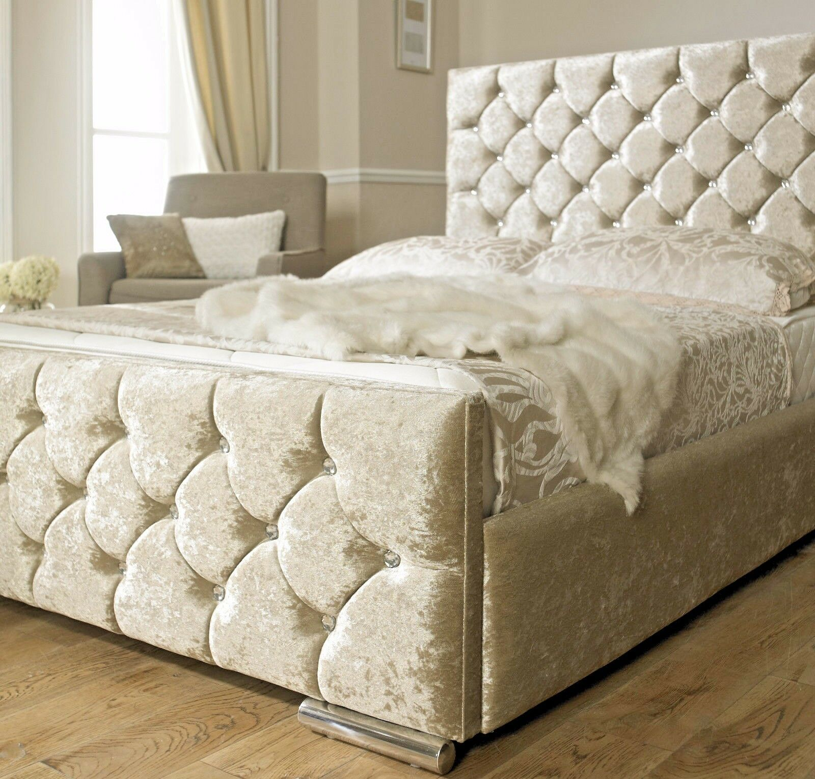 Gold Bed Frame   Crushed velvet bed, Velvet upholstered ...