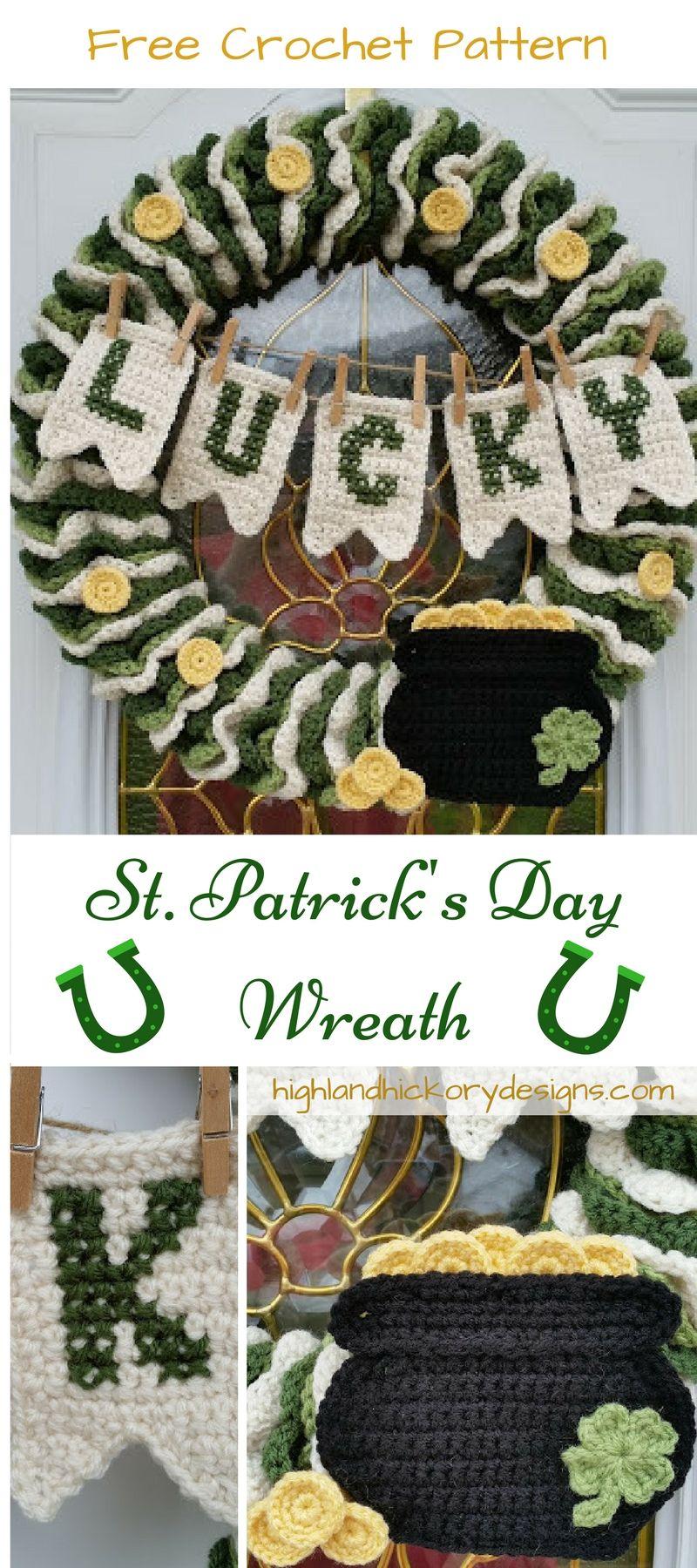 St. Patrick\'s Day Wreath - Free Crochet Pattern