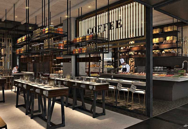 wonderful restaurant open kitchen design plus action which