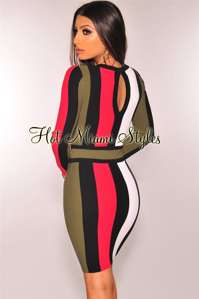 Black Olive Red Striped Knit Long Sleeves Dress Fashion
