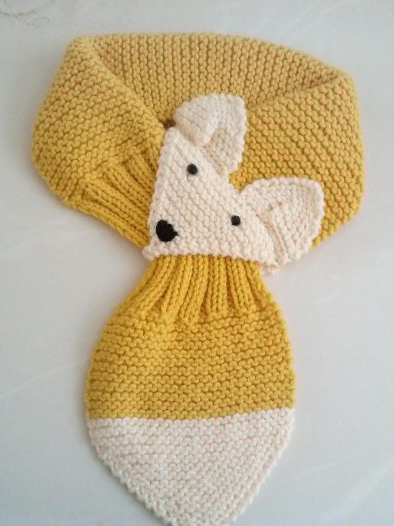 Adjustable Fox Hand Knit Scarf / neck warmer for Kids or Adult ...