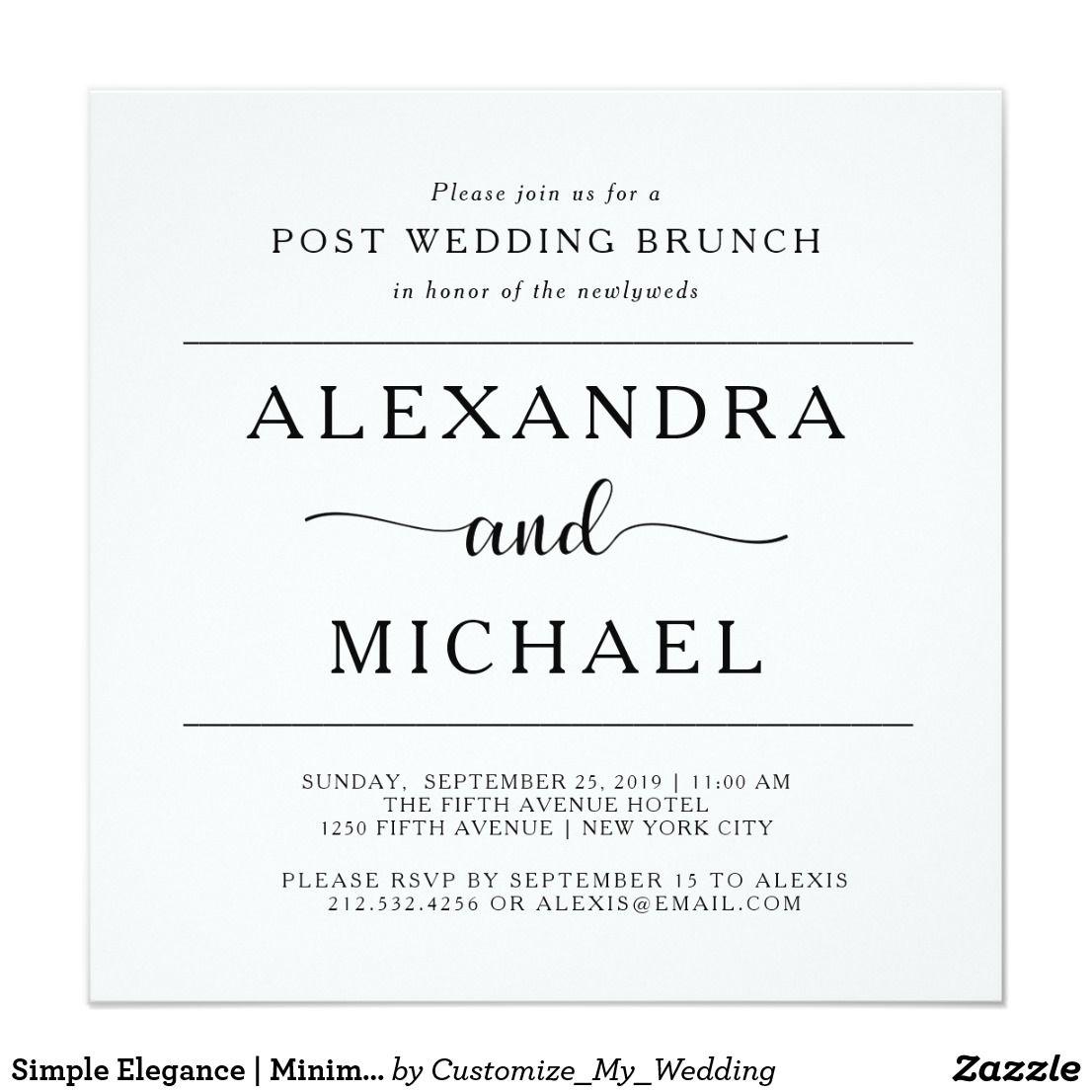 Simple Elegance Minimalist Post Wedding Brunch Invitation Simple