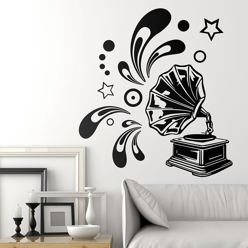 Vinilos decorativos air music gram fono decoraci n for Vinilo decorativo musical pared