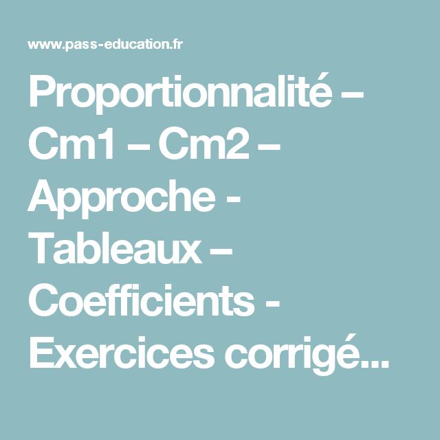 Proportionnalité - Cm1 - Cm2 - Approche - Tableaux ...
