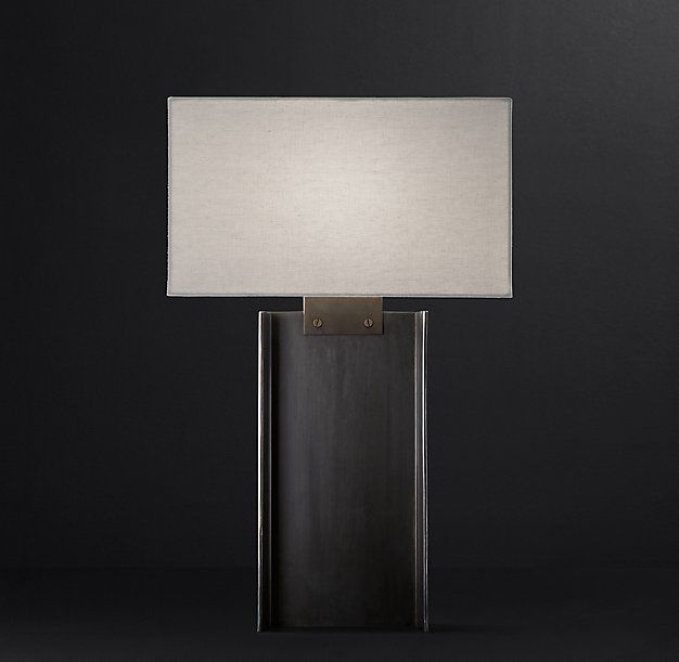 """Beam Table Lamp      Base: 19""""W x 11""""D x 30""""H     Cord: 9""""L     Weight: 17.5 lbs."""