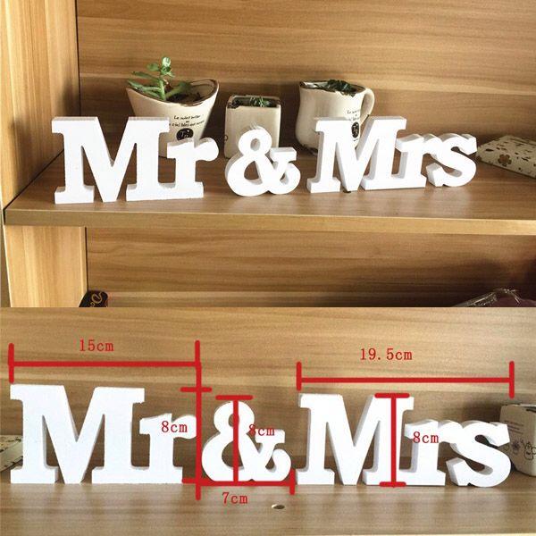 Wedding Reception Sign Solid Wooden Letters Mr & Mrs Table Centrepiece Decor VBT52 P10