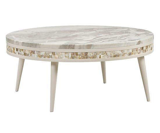 Table basse ANGOLA marbre, ivoire et naturel - Ø100   tables ...