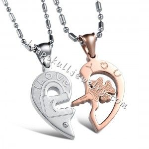 """His & Hers Couple Stainless Steel """"I Love You"""" Engraved Matching Key to My Heart hot online $38.98"""