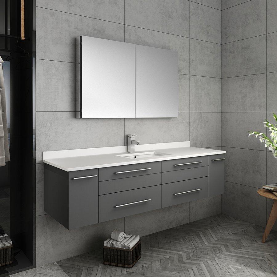 Fresca 60 Inch Lucera Single Sink Floating Vanity With Top Undermount Sink And Medicine Cabinet Gray Fvn6160gr Uns Modern Bathroom Vanity Single Sink Bathroom Vanity Floating Bathroom Vanities