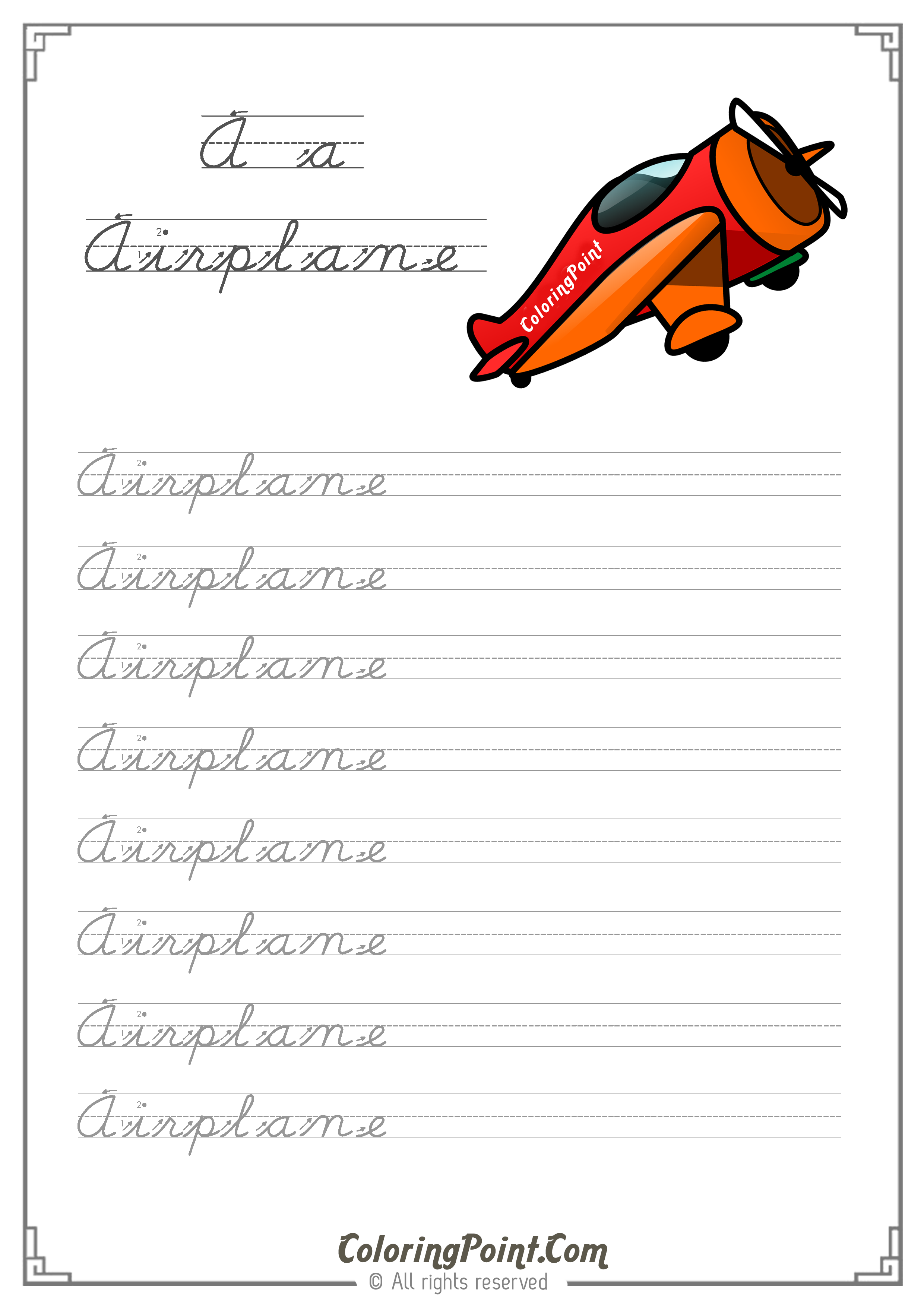 Practice Writing The Word Airplane Worksheet
