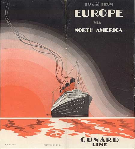 """""""To and From Europe via North America - Cunard Line,"""" circa 1928"""