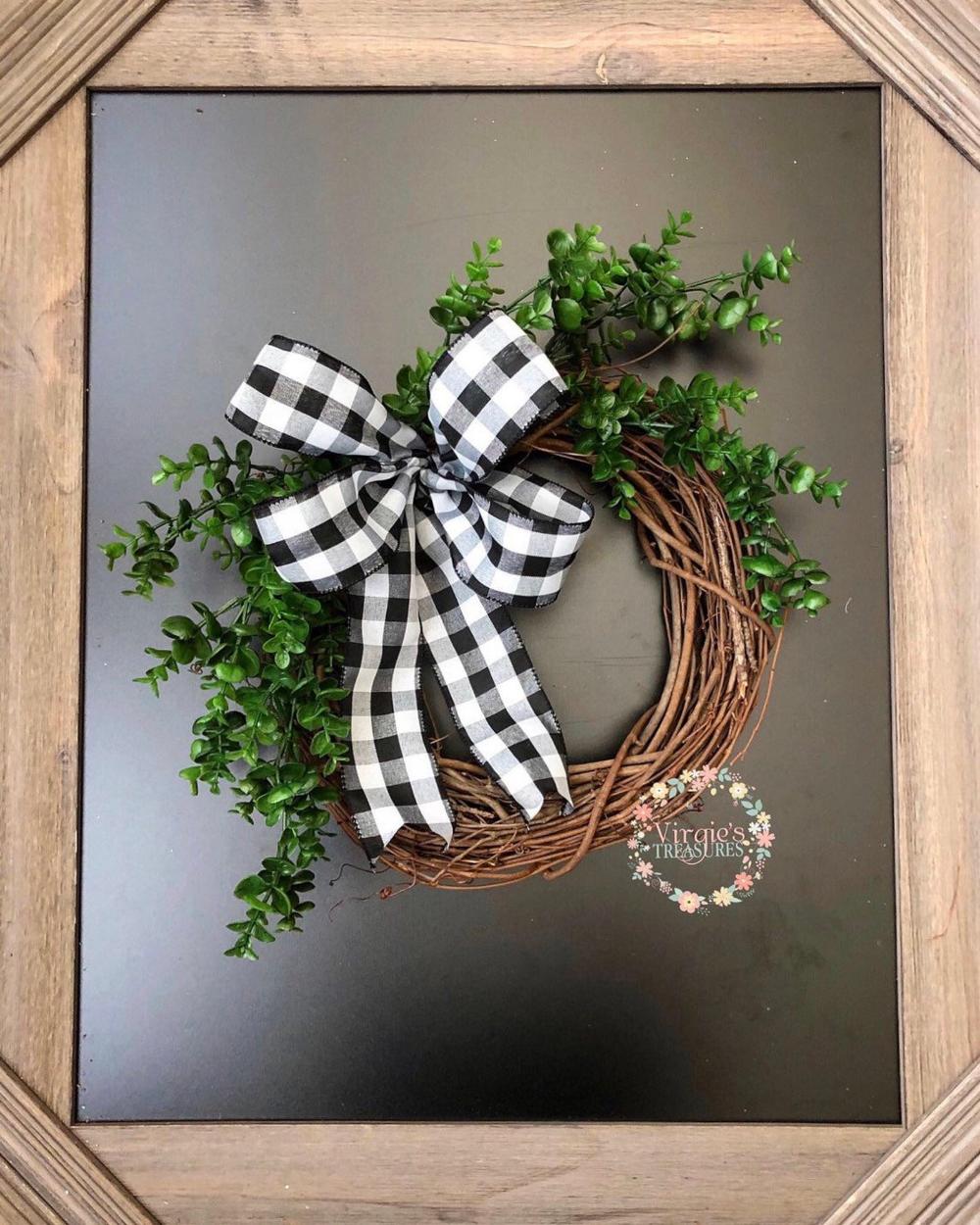 Photo of Farmhouse Wreath, Boxwood Stems & Buffalo Plaid Wreath, Rustic Chic Wreath, Everyday Wreath, Housewarming, Boxwood Wreath, 15 inch wreath