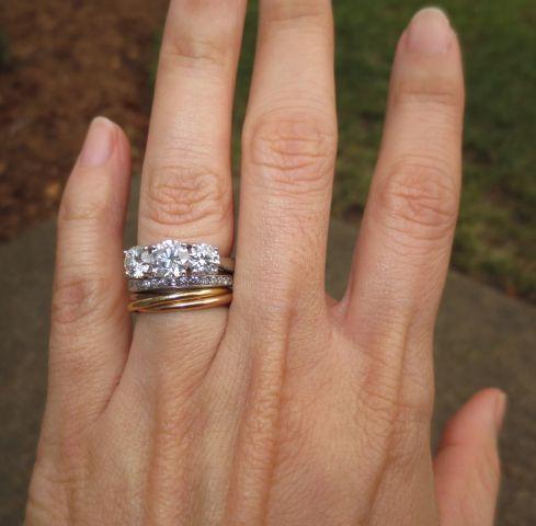 Three Stone Diamond Ring With Cartier Trinity