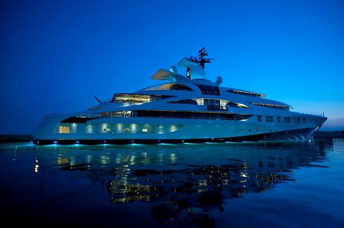 Palladium Superyacht Night View With Lights