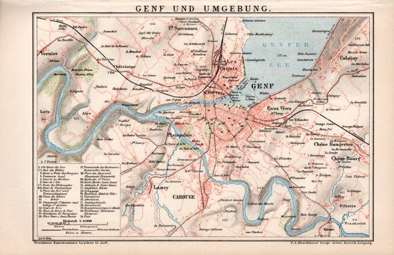 1898 Geneva Old Map Switzerland Genve Suisse by Craftissimo Old