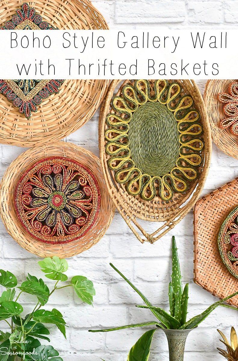 Boho Basket Wall Decor with Flat Wall Baskets and Woven ... on Modern Boho Wall Decor  id=21053