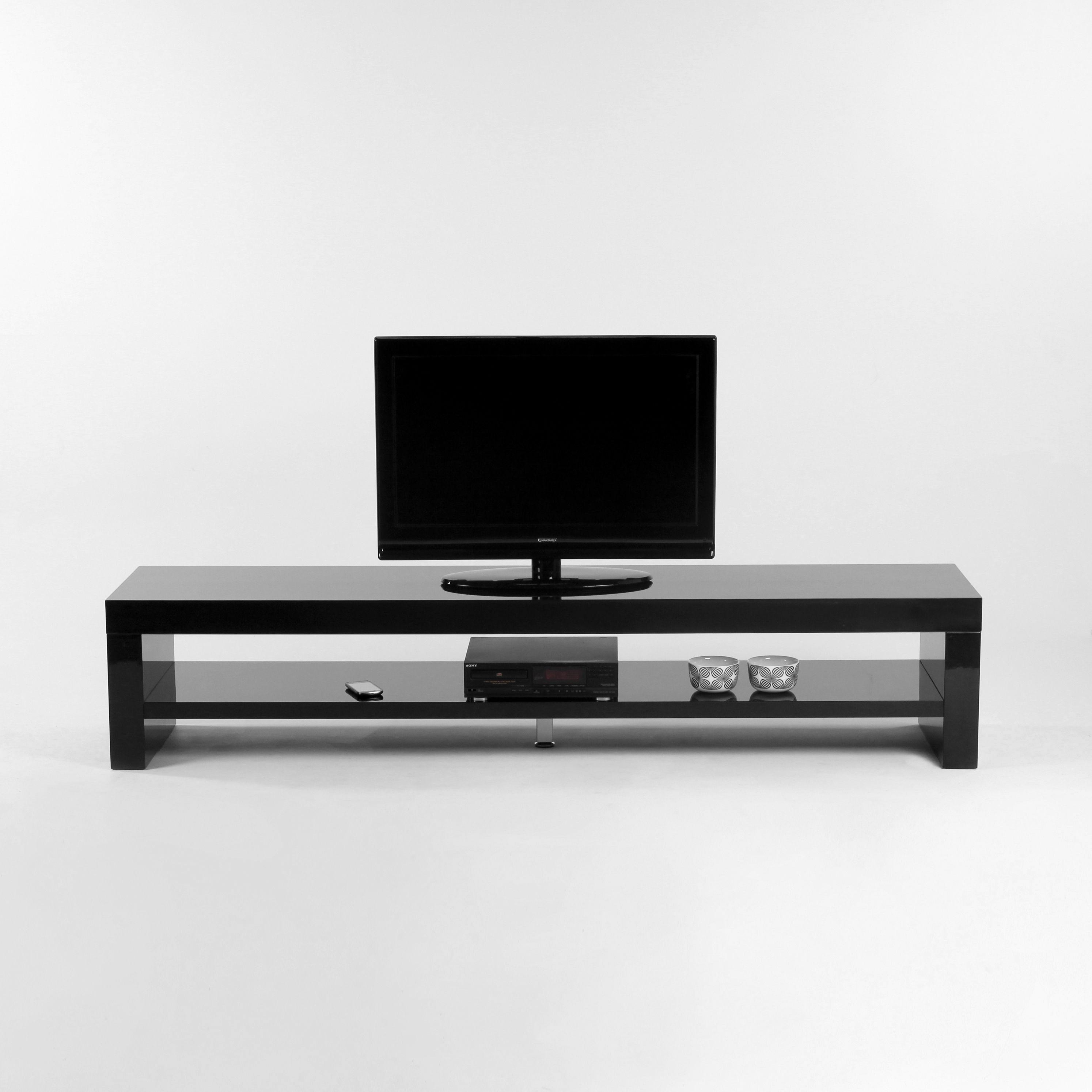 meuble tv 1 niche en bois laqu l200cm scoop - Meuble Tv Bois Et Laque