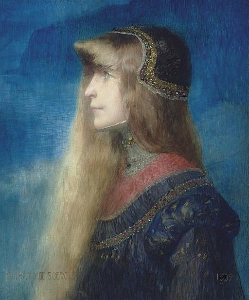 La fille du roi - The King's daughter, 1902, pencil and watercolor on paper, 57.8 x 50.2 cm, Private collection