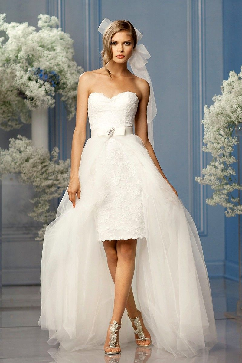 2014 New Short Lace Wedding Dresses With Removable Tulle