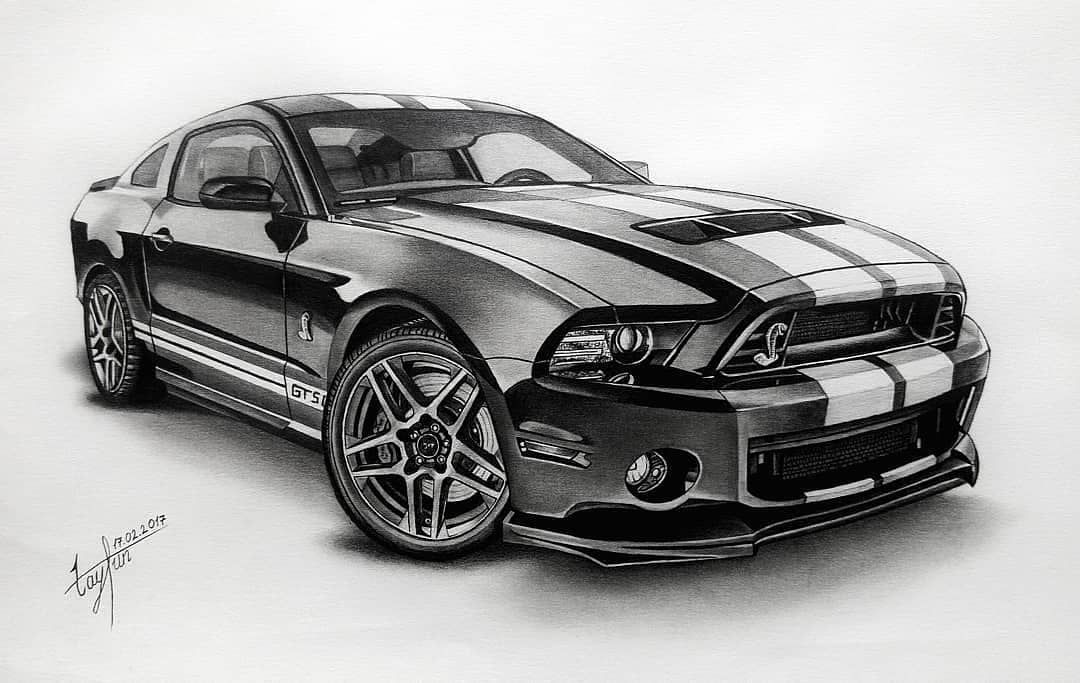 Ford Mustang Shelby Gt500 Fordmustang Shelbygt500 Drawing Draw Art Instaartist Artsanity Blackandwhite Drawing Art70 Ford Zeichnungen Zeichnen