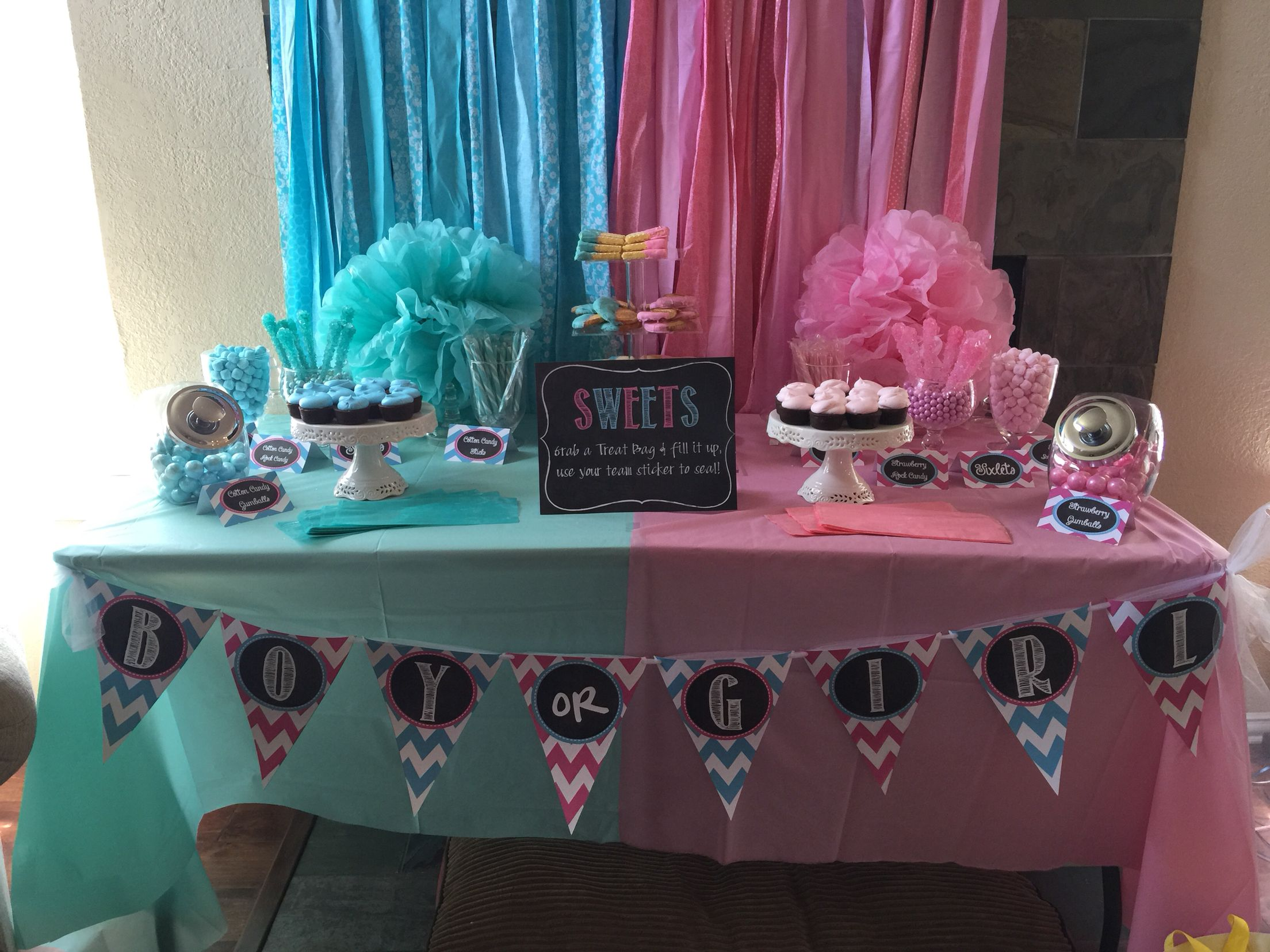Candy buffet fabric banner Shannon & Dennis Gender Reveal Party