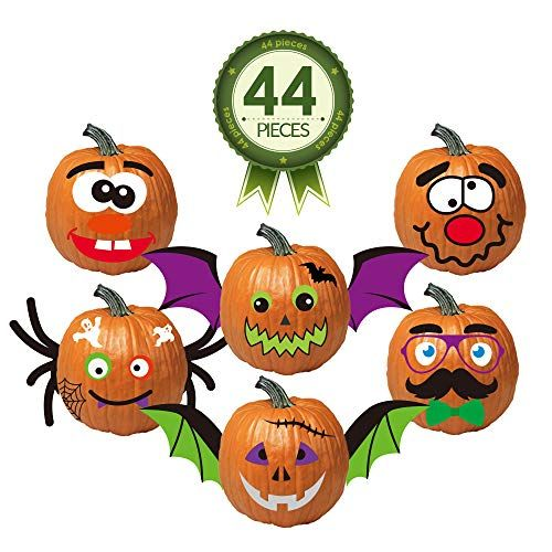 Kayco Outlet Pumpkin Decorating Kit Stickers  44 Piece Halloween Funny Foam Face Decora