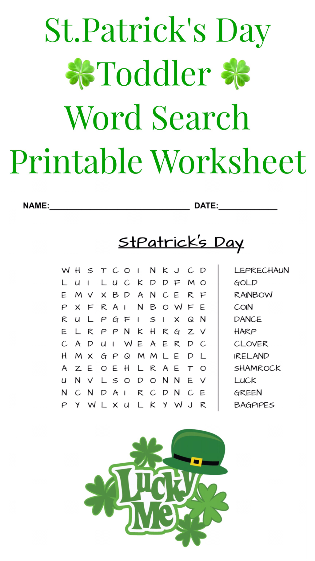 Sttrick S Day Toddler Word Search Printable Worksheet