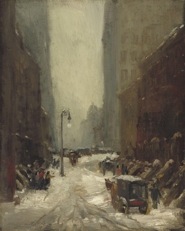 "Robert Henri, ""Snow in New York,"" 1902. National gallery"