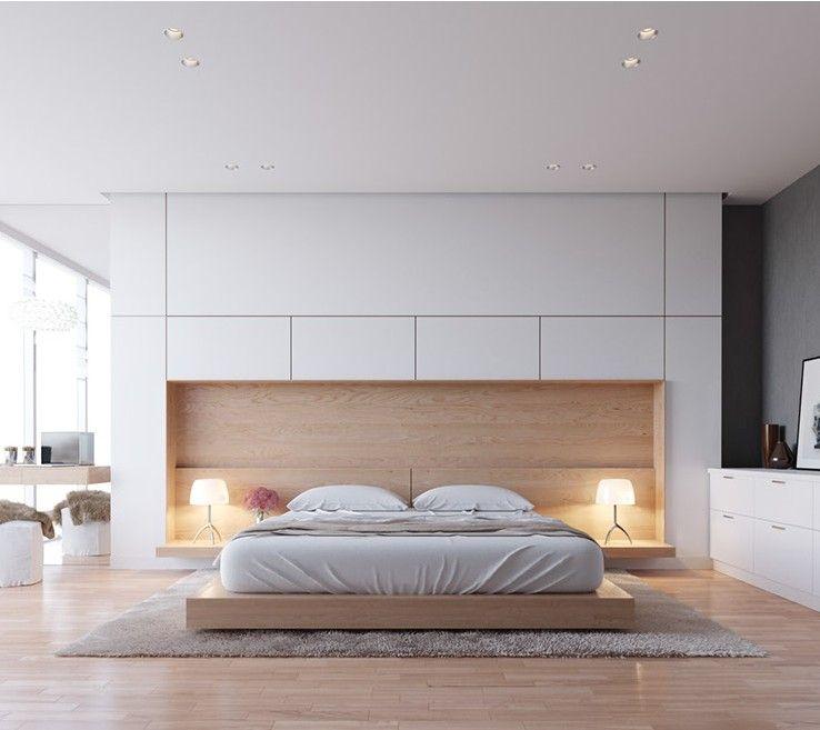 Chambre design avec rangements intégrés | http://www.m-habitat.fr ...