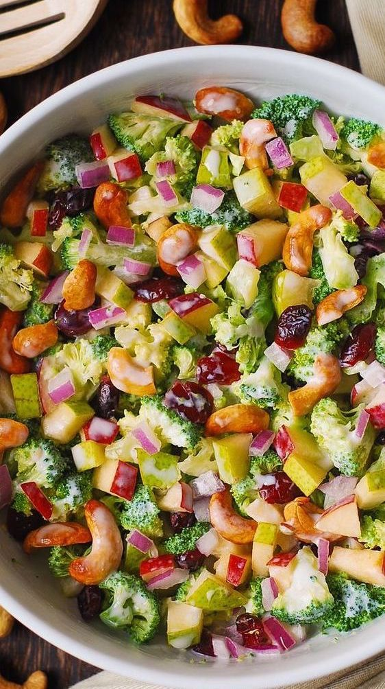 Broccoli Cashew Salad with Apples, Pears, and Cran