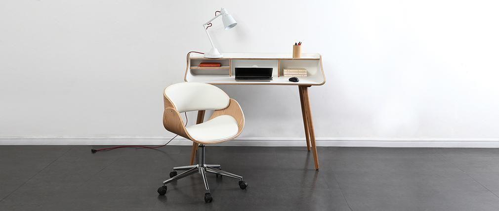 Chaise De Bureau A Roulettes Blanc Et Bois Clair Bent Miliboo Chaise Design Decoration Maison Mobilier De Salon