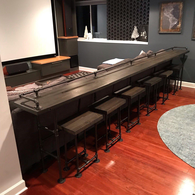 Reclaimed Barn Wood Bar Table 9 Restaurant Counter Etsy Small Media Rooms Wood Bar Table Home