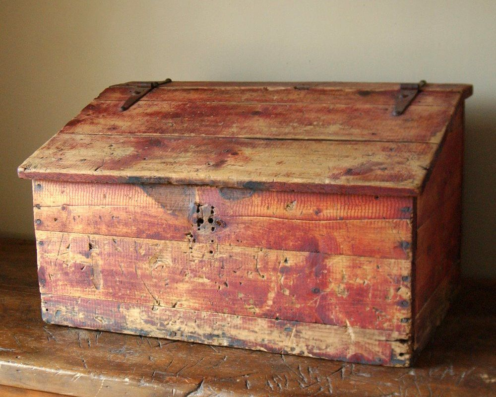 Primitive Red Stained Painted Document Box Storage Trunk