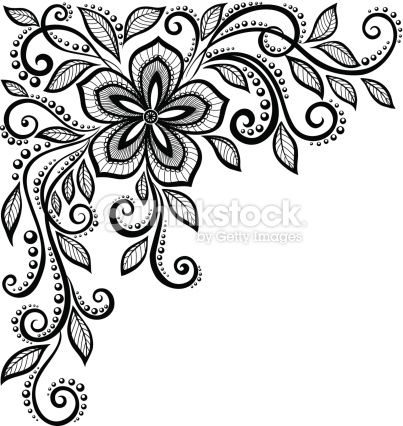 vector art beautiful black and white lace flower in the corner rh pinterest com vector lace pattern photoshop vector lace pattern background