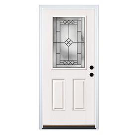 Therma Tru Benchmark Doors 2 Panel Insulating Core Half Lite Left Hand Inswing White Fiberglass Primed Prehung Entry Door C With Images Therma Tru Glass Decor Entry Doors