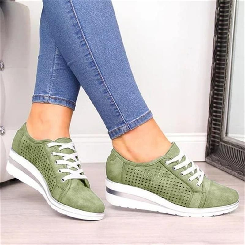 New Chic Womens Breathable Sneakers Hidden Heel Slip On Platform Athletic Shoes