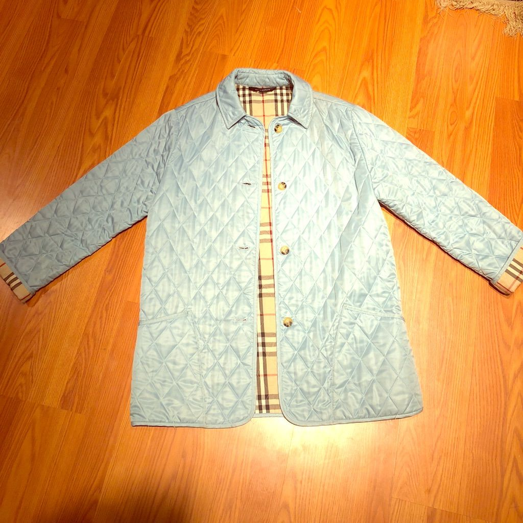 Burberry Quilted Jacket In Light Blue Quilted Jacket Burberry Quilted Jacket
