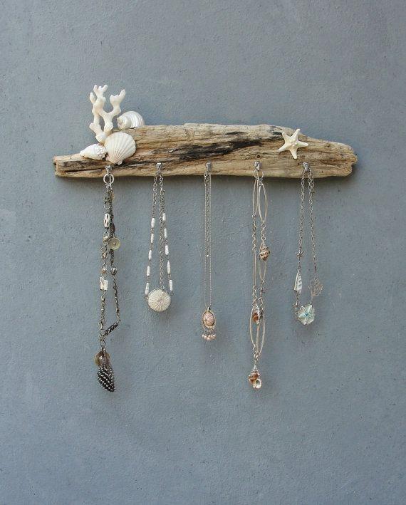 White Seashore Jewelry Storage Organizer Rack - Beach Cottage Style - Driftwood, Shell, Coral, Starfish, Metal #beachcottagestyle