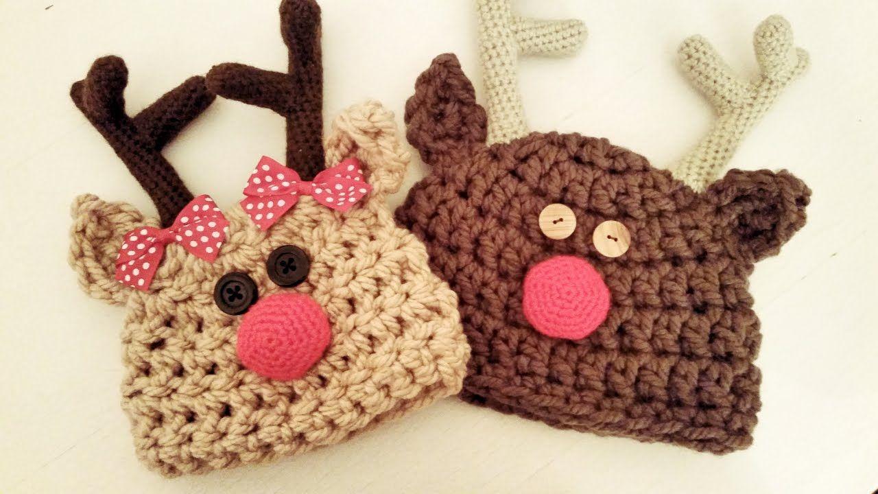 Gorro a crochet de Rodolfo el Reno | Bebes - Baby | Pinterest