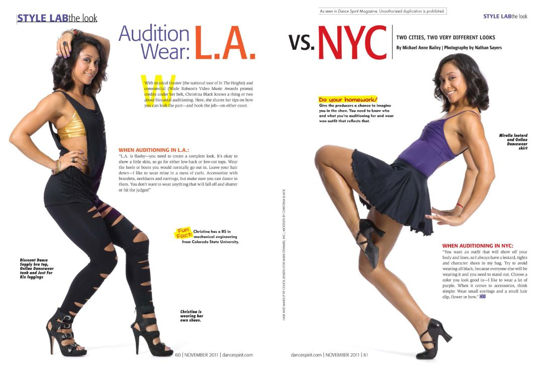 Audition Wear L.A. vs. NYC Musical audition, Dance