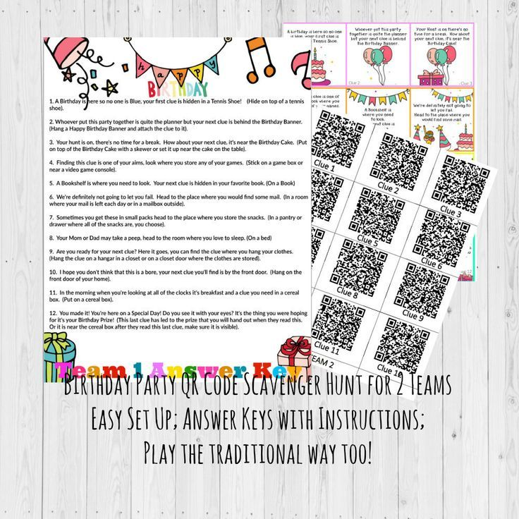 Birthday Scavenger Hunt Games Party For Kids Treasure By GrinandPrint On
