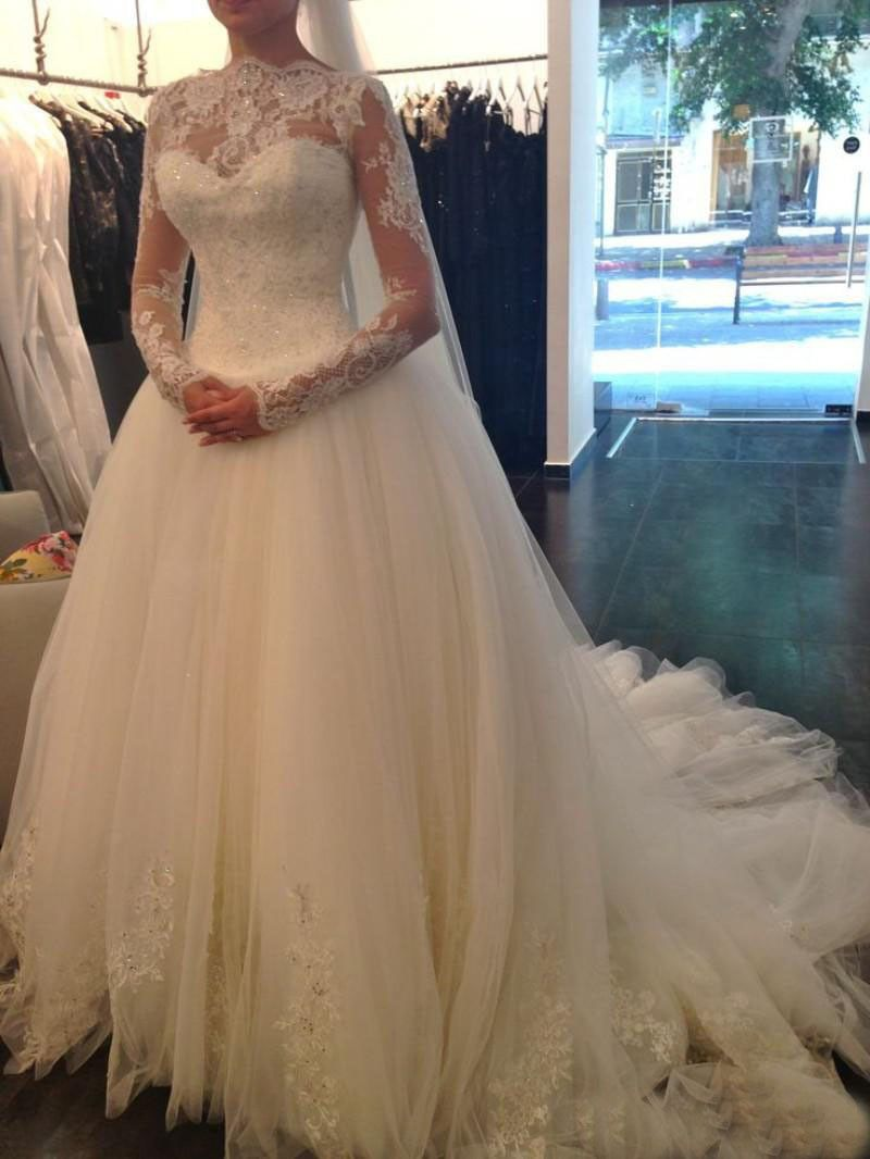 Sheer top wedding dress  Vestidos De Novia  Vintage High Neck Long Sleeves Beaded Lace