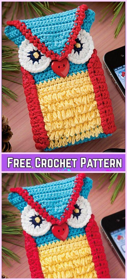 Crochet Owl Cell Phone Cozy Free Patterns | crochê | Pinterest ...