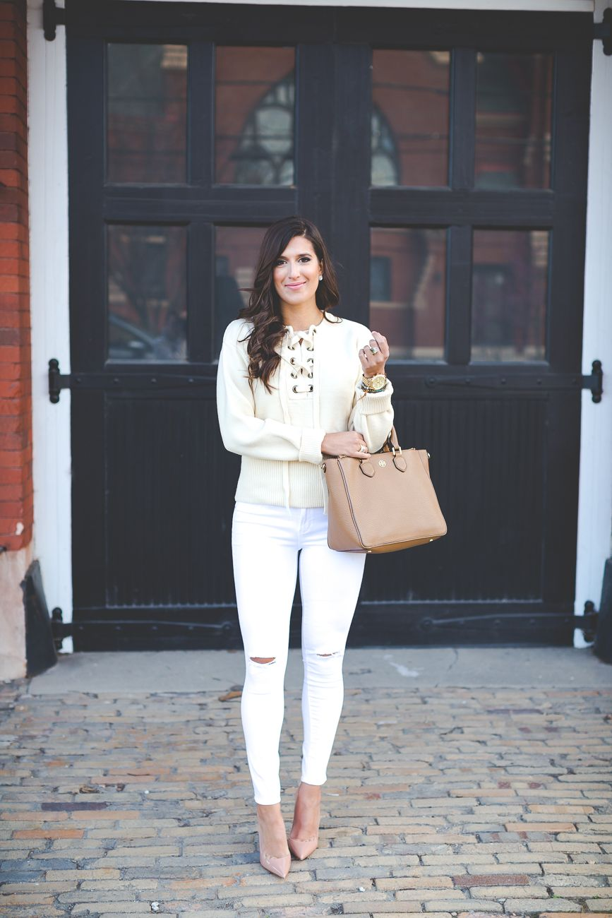 Beige Lace Up Sweater | Distressed skinny jeans, White jeans and ...