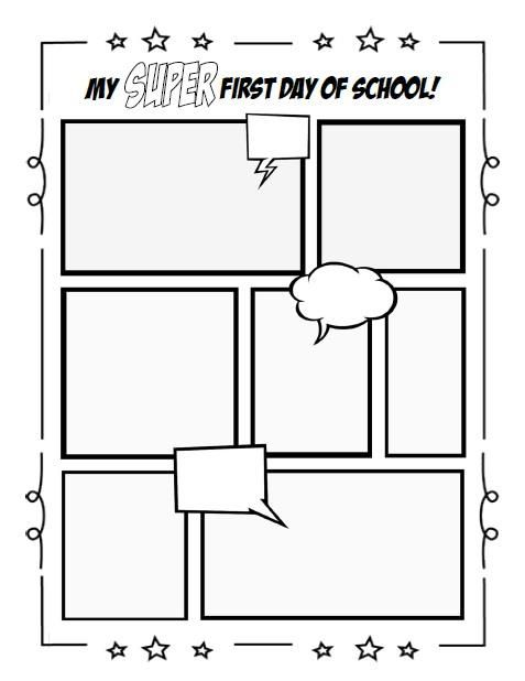 My super first day of school writing activity for Printable blank comic strip template for kids