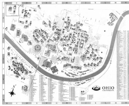 Athens Campus Map.Ohio University Campus Map 2007 Ohio University Archives