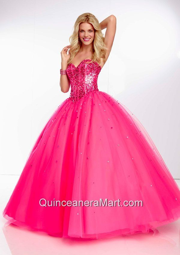 2014 Popular Hot Pink Quinceanera Dress with Beading and Sequins ...