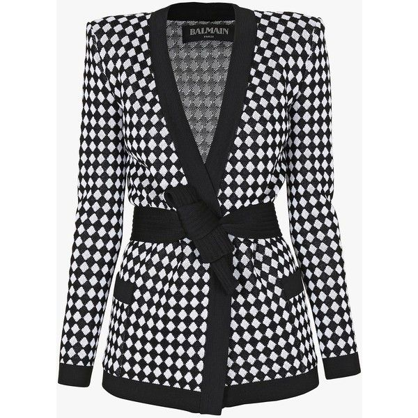 Belted stretch-knit cardigan | Women's knit jackets | Balmain (35826350 BYR) ❤ liked on Polyvore featuring outerwear, balmain, cardigans and jackets