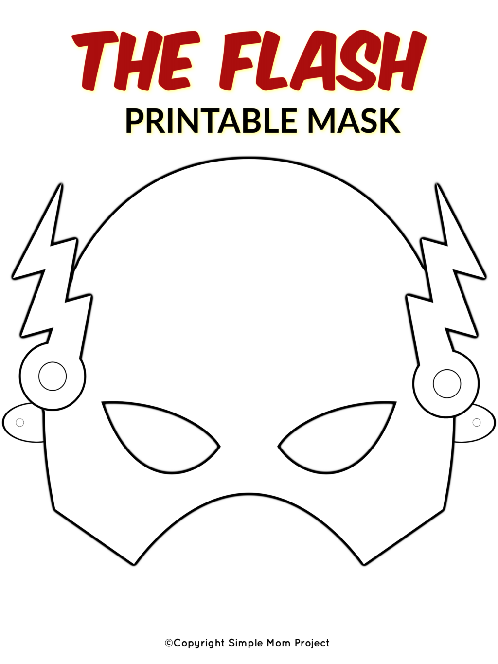 Free Printable The Flash Superhero Mask Template